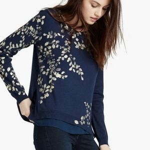 Lucky Brand Joanna Floral Sweater Navy
